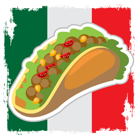 Taco on a background of the Mexican flag. Traditional Mexican cuisine