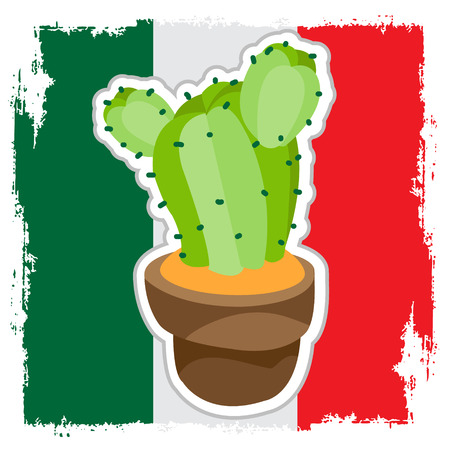 Cactus in flowerpot on the background of the Mexican flag.