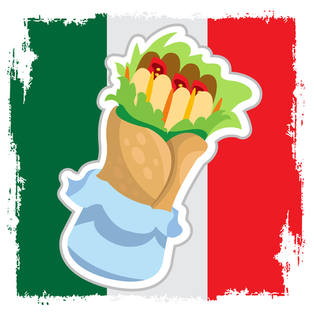 Enchilada on the background of the Mexican flag. Traditional Mexican cuisine.