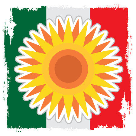 Stylized sun disk with sharp rays on the background of the Mexican flag. Ilustração