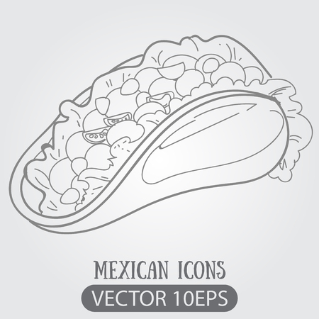 Taco logo. Traditional Mexican cuisine. Illustrations coloring. 向量圖像