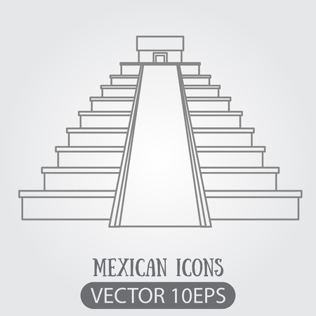 Teotihuacan. Pyramid of the Sun and Pyramid of the Moon. Mexican sights logo. Illustrations coloring. Logo