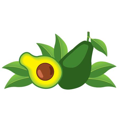 Avocado fruit logo. Halves of avocado leaves. Vegetarianism. Raw food diet. Çizim