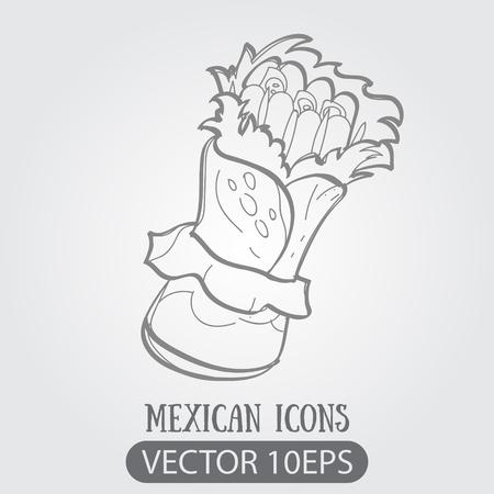 Enchilada logo. Traditional Mexican cuisine. Illustrations coloring. Illustration