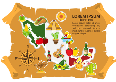 Mexico map illustration for top view of tourism promotional materials.