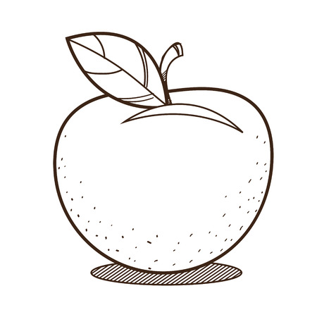 Apple outline drawing for coloring, fruit logo.