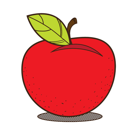 Red apple colored illustration, fruit logo on a white background.
