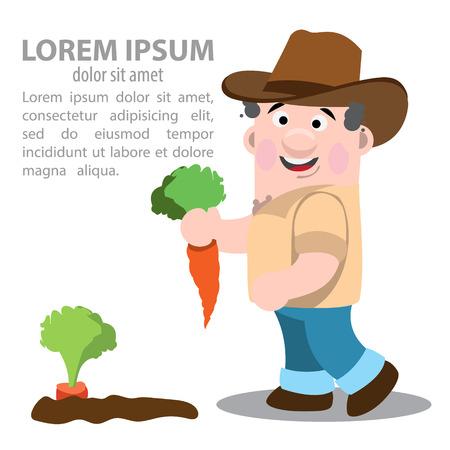 Farmer gathers harvest carrots. Farming. Agricultural business. Ilustração