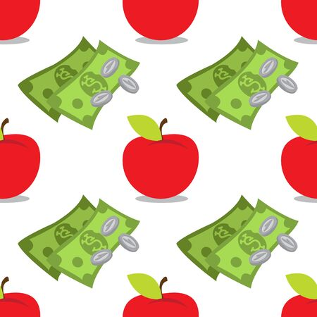 Money and apple seamless pattern on a white   for design surface
