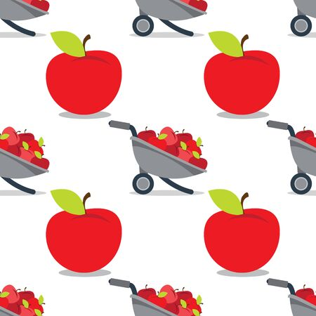 Garden Wheelbarrow with apples seamless pattern on a white  for design surface