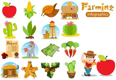 Set of infographics on farming. Stock Illustratie