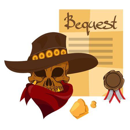 Skull in a hat. Cowboy.