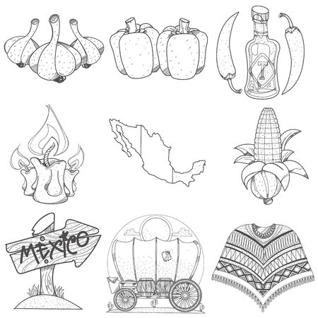 Set of icons on a Mexican theme. Outline picture for coloring.