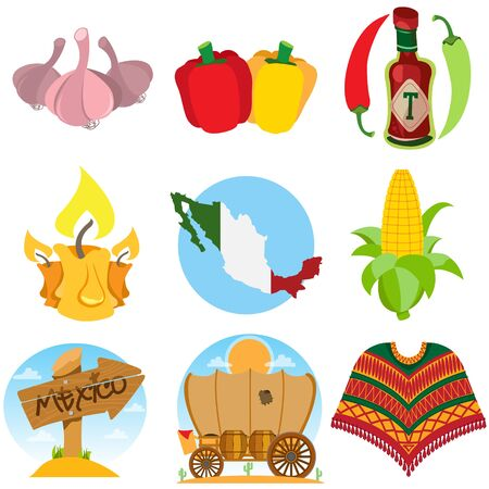 Set of icons on a Mexican theme. Mexican food and household items. Stock Illustratie