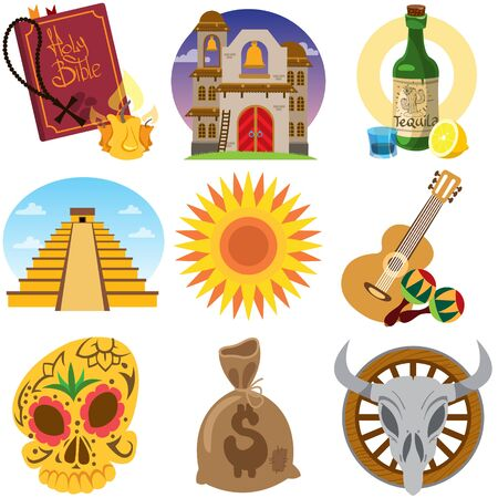 Set of icons on a Mexican theme. Mexican food and sights.