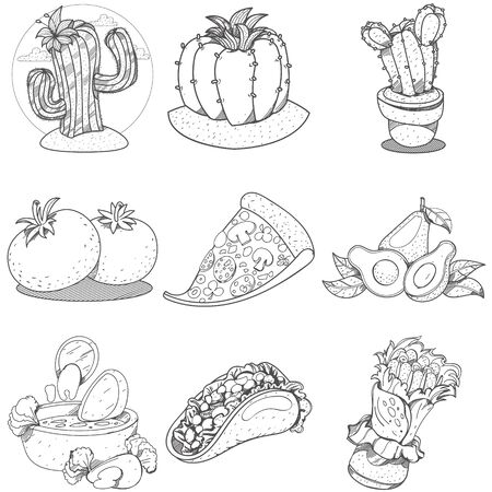 Set of icons on a Mexican theme. Mexican food and household items. Illustrations coloring Illustration
