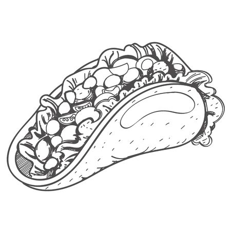 Taco . Traditional Mexican cuisine. Illustrations coloring
