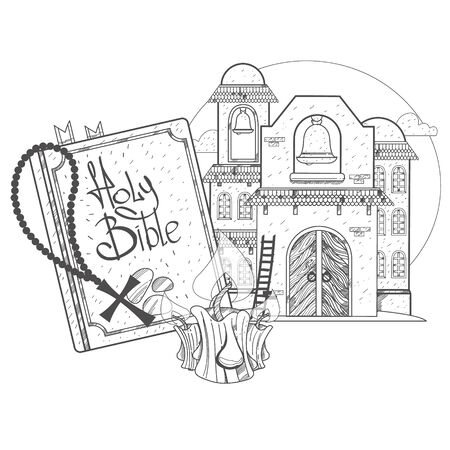 Church and Bible. Game background. Illustrations coloring