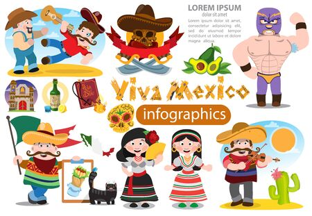 Set of characters in cartoon style on Mexican themes. Men and women in traditional clothing meksikanskots.