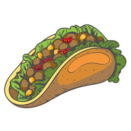 Taco . Traditional Mexican cuisine. Vector illustration