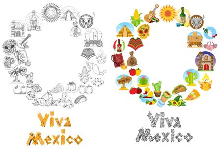 Round frame with household items and traditional Mexican food. Illustration for the tourist promotional material