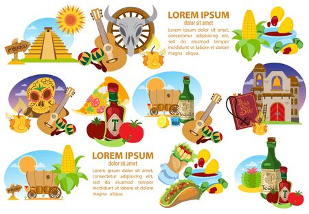 Set of icons on a Mexican theme. Mexican food and household items