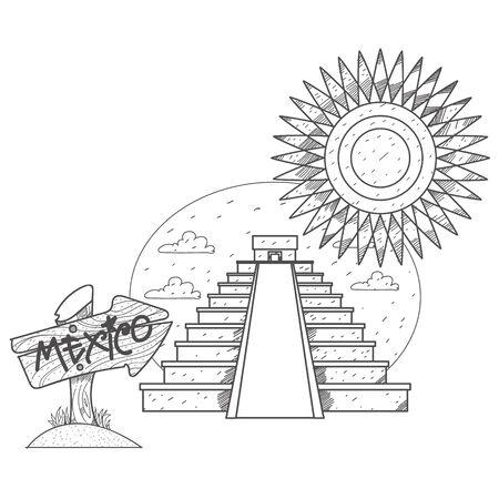 Teotihuacan. Pyramid of the Sun and Pyramid of the Moon. Mexican sights logo. Illustrations coloring