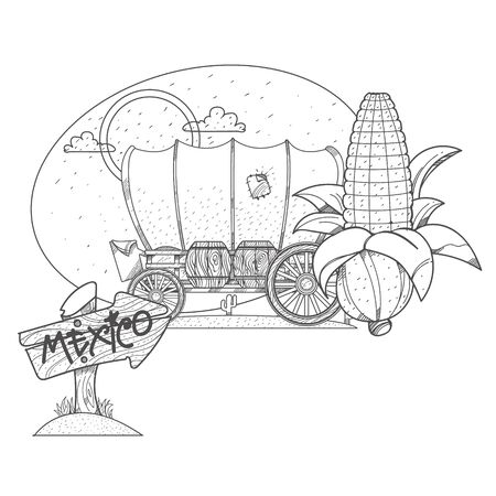 Covered wagon, an ear of corn and a wooden pointer. Illustrations coloring