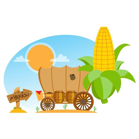 Covered wagon, an ear of corn and a wooden pointer. The illustration on a Mexican theme for design of promotional materials