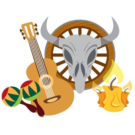 Guitar, maracas. Cow skull on a wheel. Color illustration of a summer theme