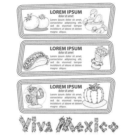 Set of banners with traditional Mexican dishes. Labels for tourist promotional materials