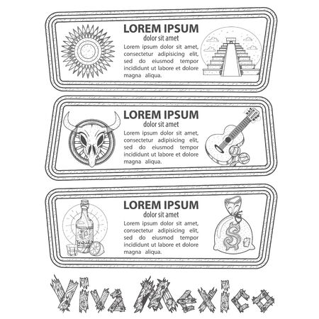 Set of banners on a Mexican theme. Labels for tourist promotional materials