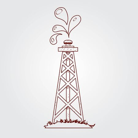 Oil, gas rig logo. Outline drawing. Çizim