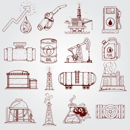 The oil industry set of logos. Outline drawing
