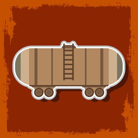 Railway tank. Vector illustration on burgundy background.