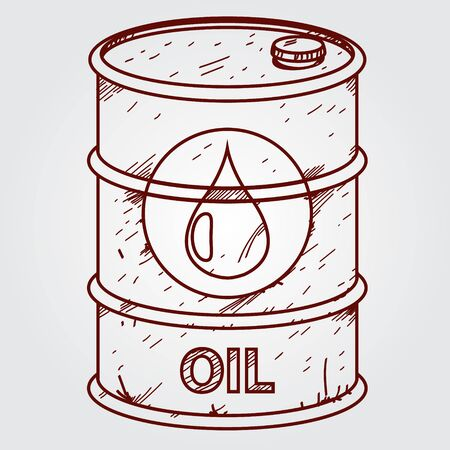 A barrel of fuel. Outline drawing.