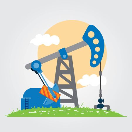 Oil pumps. Oil industry equipment. Illustration
