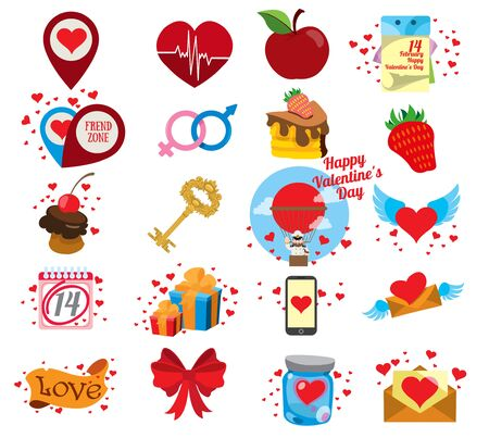 Vector set of colorful icons for Valentines Day