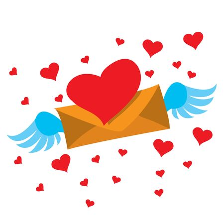 Drawing paper envelope with wings with red pepper for greetings and declarations of love. Design items for Valentines Day, weddings, romantic rendezvous
