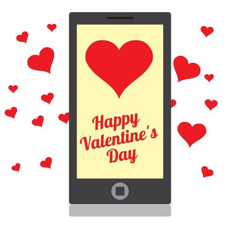 Drawing a mobile device with hearts and greetings for Valentines Day.