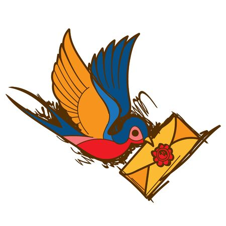Swallow with a letter sketch tattoo. Vector illustration.
