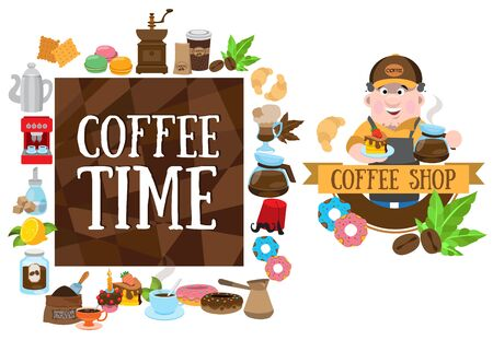 Coffee shop. Elements for design products with a coffee theme Ilustracja