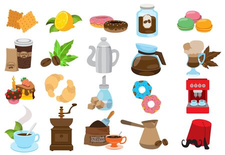 Coffee theme set of icons. Drinks and food