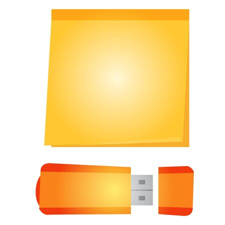 A banner template with a space for printing in the form of an orange sheet of paper and a flash drive. Illustration