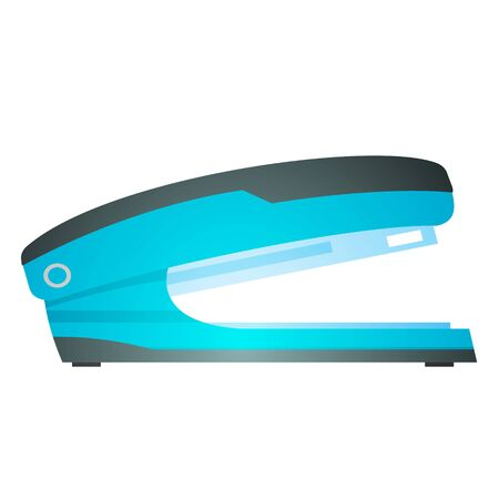 Blue stapler. Stationery. A tool for bonding paper.