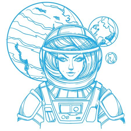 Girl in a spacesuit for t-shirt design or print. Woman astronaut. Cosmic Beauty. Martian, alien outline illustration on a white background.