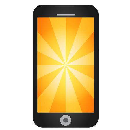 Mobile phone in a black case with an orange screen.