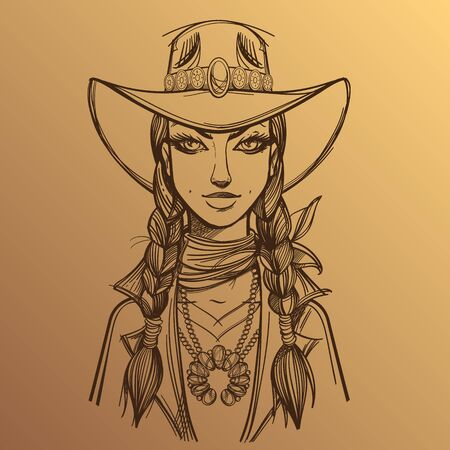 Girl in a cowboy hat outline illustration on a beige backgroun. Portrait of a beautiful woman. Country style for t-shirt design or print.