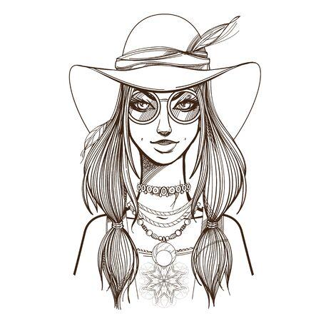 Ritratto di una giovane e bella donna con cappello a tesa larga e occhiali da sole. Ragazza alla moda sulla copertina di una rivista o di una pubblicità cosmetica. Illustrazione di contorno per la colorazione.