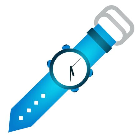 Wrist blue watch. Vector illustration isolated on white background. Иллюстрация
